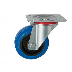 Rolltek 80mm Swivel Rubber Blue Medium Duty Castor