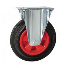 Rolltek 200mm Fixed Rubber Black Medium Duty Wheel