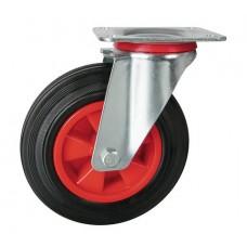 Rolltek 200mm Swivel Rubber Black Medium Duty Wheel