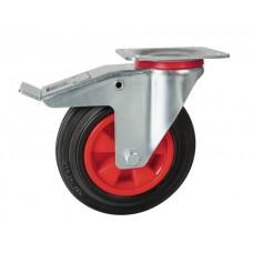 Rolltek 200mm Braked Rubber Black Medium Duty Wheel