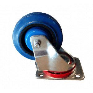 Rolltek 100mm Blue Swivel Elastic Rubber Castor